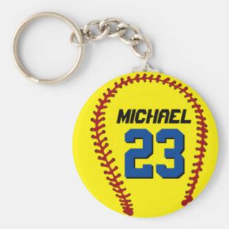 スポーツ・ファンまたはアスリートのための黄色いソフトボールKeychain キーホルダー
