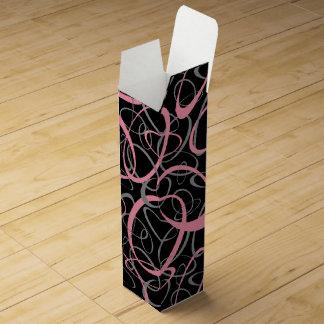 スポーティでガーリーなレトロはパターンピンクの灰色の黒を形づけます ワインギフトボックス