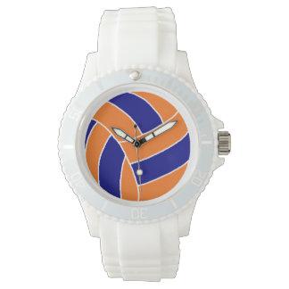 スポーティで青およびオレンジバレーボールの腕時計 腕時計
