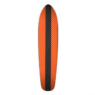 スポーティで鮮やかなオレンジストライプなカーボン繊維のスタイル スケートボード