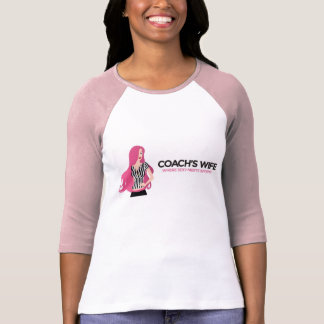 スポーティなコーチの妻の3四分の一の長さの競技場のワイシャツ Tシャツ