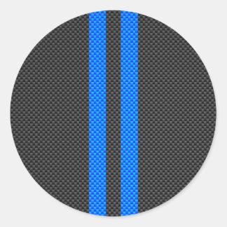 スポーティなスカイブルーカーボン繊維のスタイルの競争は縞で飾ります ラウンドシール