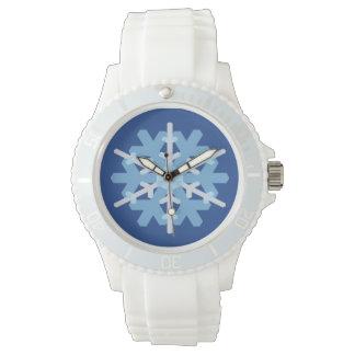 スポーティな雪片の青い腕時計 腕時計