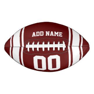 スポーティなBurgundy|Whiteのストライプのな名前入り アメリカンフットボール