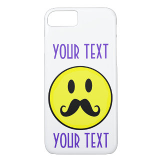スマイリーフェイスのスマイルのテンプレートは口ひげをカスタマイズ iPhone 8/7ケース
