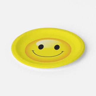 スマイリーフェイスのハッピーバースデーのEmojiの黄色いパーティー ペーパープレート