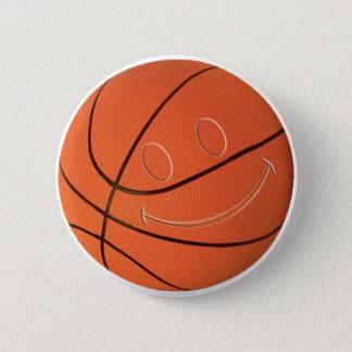 スマイリーフェイスのバスケットボール 缶バッジ