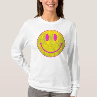 スマイリーフェイスのピンクの黄色 Tシャツ