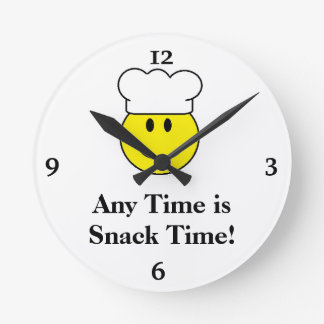 スマイリーフェイスの台所時計 ラウンド壁時計