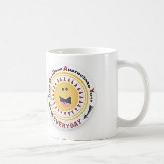 スマイリーフェイスの感謝のマグ ベーシックホワイトマグカップ