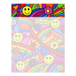 スマイリーフェイスの虹および花のヒッピーパターン レターヘッド