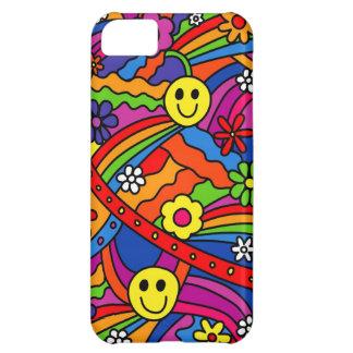 スマイリーフェイスの虹および花のヒッピーパターン iPhone5Cケース