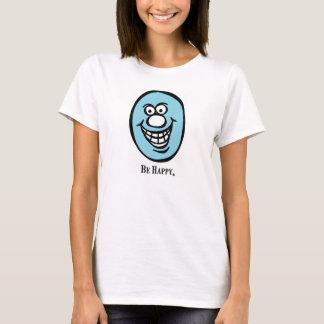 スマイリーフェイスの(幸せがあって下さい) *Blue Tシャツ