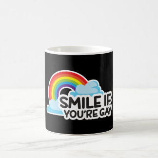 スマイルあなたは陽気ななら虹LGBTのプライド コーヒーマグカップ