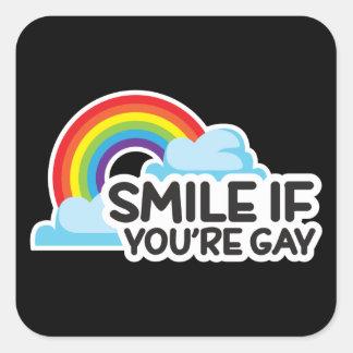 スマイルあなたは陽気ななら虹LGBTのプライド スクエアシール