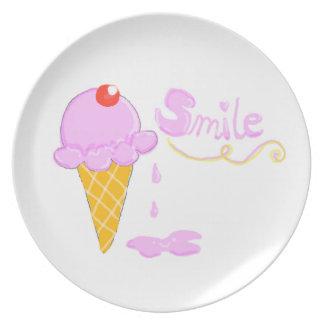 スマイルのアイスクリーム プレート