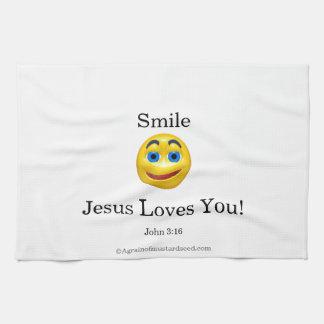 スマイルのイエス・キリスト愛にこやかな キッチンタオル
