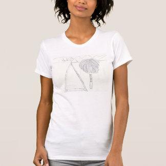 スマイルのヤシの木および山の落書きのワイシャツ Tシャツ
