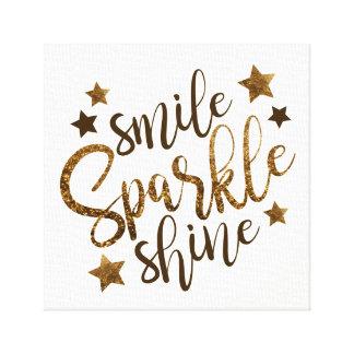 スマイルの輝きの輝やき-キャンバスに文字を入れる星の金ゴールド キャンバスプリント