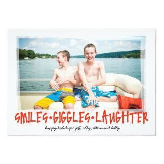 スマイル*くすくす笑い*背部写真との笑い声 カード