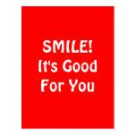 スマイル! それはあなたのためによいです。 赤い ポストカード