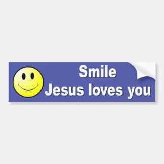 スマイル、イエス・キリストは愛します バンパーステッカー