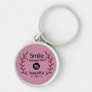 スマイル、態度、成功、ゴール、やる気を起こさせるなピンク キーホルダー
