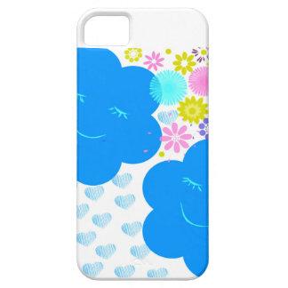 スマイル、雲、ハート、花、青、黄色いピンク iPhone SE/5/5s ケース
