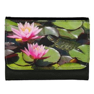 スライダーのカメの《植物》スイレンによっては池の野性生物が開花します