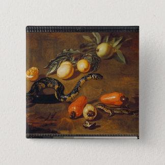 スリナムおよびハ虫類からのフルーツの静物画 5.1CM 正方形バッジ