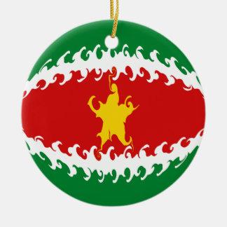 スリナムのすごい旗 セラミックオーナメント