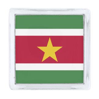 スリナムのラペルピンの旗 シルバー ラペルピン