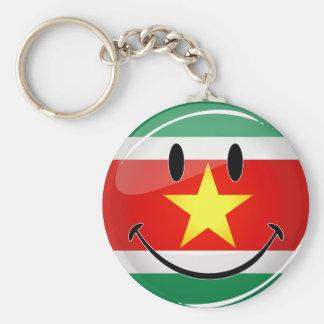 スリナムの光沢のある円形の旗 キーホルダー