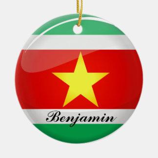 スリナムの光沢のある円形の旗 セラミックオーナメント