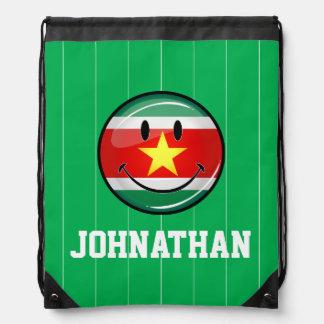 スリナムの光沢のある円形の旗 ナップサック