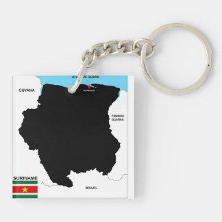 スリナムの国の政治地図の旗 キーホルダー