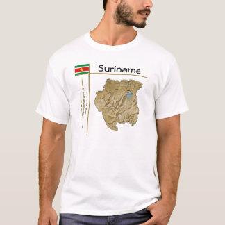 スリナムの地図 + 旗 + タイトルのTシャツ Tシャツ