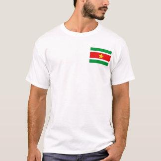 スリナムの旗および地図のTシャツ Tシャツ