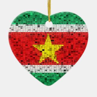 スリナムの旗のグリッターのオーナメント セラミックオーナメント