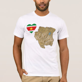スリナムの旗のハートおよび地図のTシャツ Tシャツ