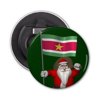 スリナムの旗を持つサンタクロース 栓抜き