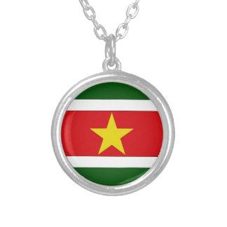 スリナムの旗 シルバープレートネックレス