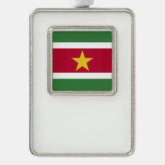 スリナムの旗 シルバープレートフレームオーナメント