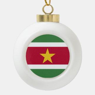 スリナムの旗 セラミックボールオーナメント