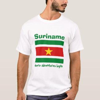 スリナムの旗 + 地図 + 文字のTシャツ Tシャツ