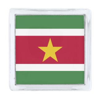 スリナムの旗 銀色 ラペルピン