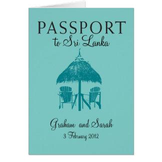 スリランカへの結婚式のパスポートの招待状 ノートカード