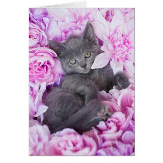 スレート工の灰色の子ネコの紫色の花柄 カード