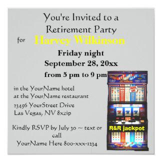 スロットマシンのカジノのテーマの退職パーティー カード