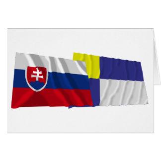 スロバキアおよびブラティスラヴァの振る旗 カード